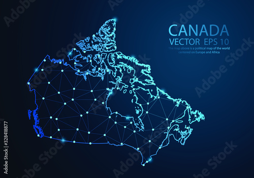 Abstract mash line and point scales on dark background with map of Canada. Wire frame 3D mesh polygonal network line, design sphere, dot and structure. Vector illustration eps 10.
