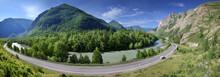 Summer Panoramic View. Asphalt...