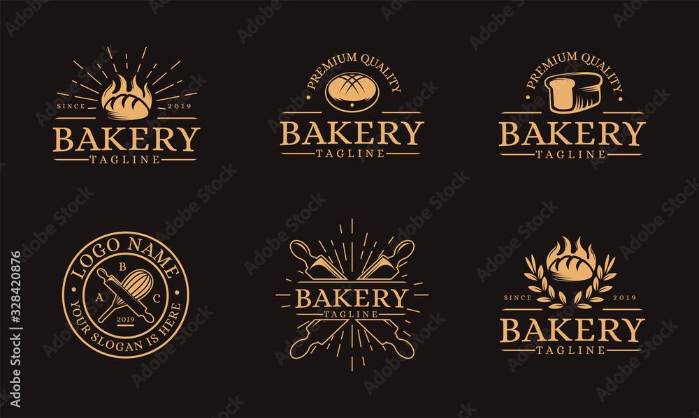 Set of Vintage retro hipster label emblem logo of bakery food, bread, pastry logo