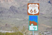 U.S. Route 66 Sign In Remote Mohave County, Arizona USA