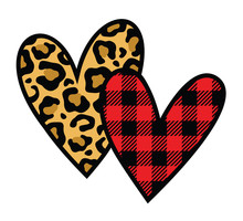 Vector Illustration Of Two Hearts With Animal Leopard Print And Red Buffalo Plaid Pattern.