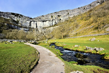 Malham Cove & Malham Beck Viewed From The Approach Path
