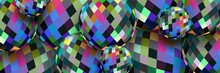3d Spheres Motley Pixel Pattern Abstract Background. Creative Web Banner.