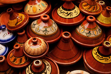 Clay Tagine Pots For Sale At The Market In Fes, Morocco