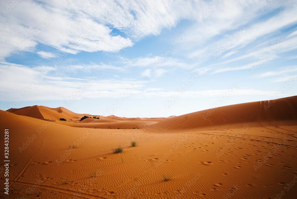 sand dunes in the Sahara Desert at sunset, Morocco