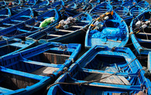 Blue Fishing Boats In Essaouir...
