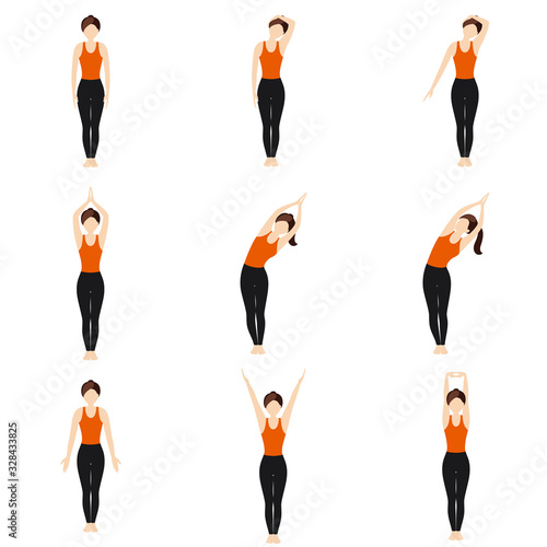 Simple standing warm-up yoga asanas set for beginners / Illustration stylized wo Wallpaper Mural