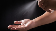 Male Hands Washing With Alcoho...