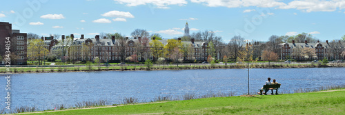 Obraz Charles River, Cambridge. Panoramic View - fototapety do salonu