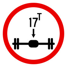 Axle Load Limit Up To 17 Ton.Traffic Sign. Red Circle. Perfect For Backgrounds, Backdrop, Sticker, Sign, Symbol, Label, Poster, Banner, Notice Etc.