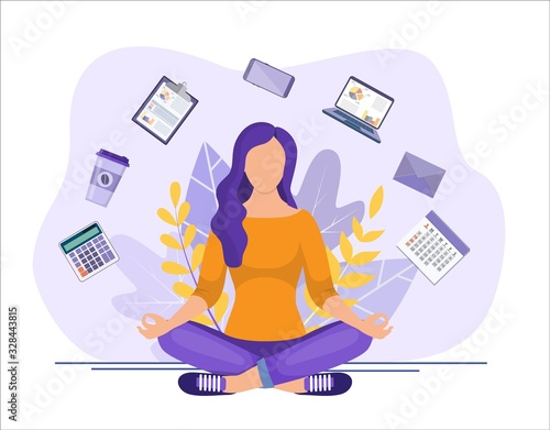 Business yoga concept Fotobehang