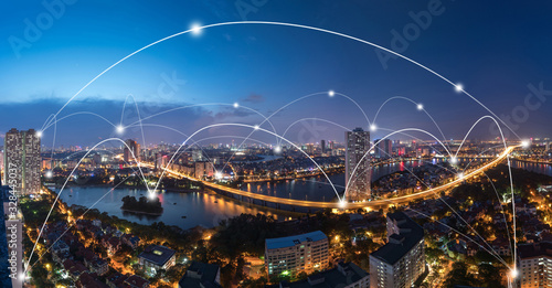 Smart city and wireless communication network concept. Digital network connection lines - 328445037