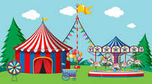 Scene With Circus Tent And Carousel In The Park