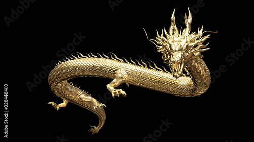 Fototapeta Full body gold dragon in smart pose with 3d rendering include alpha  path