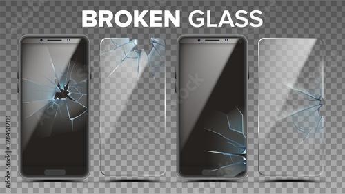 Leinwand Poster Broken Glass Phone Screen Protector Set Vector