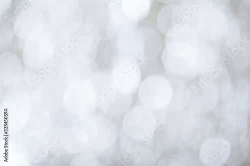 Gentle bokeh black and white defocused lights, abstract backround Wallpaper Mural