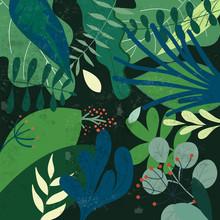 Botanical Tropical Green Leave Pattern,garden Concept