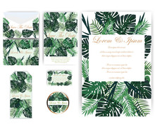 Flower And Leaves Wedding Card...