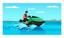 Man Enjoying Jet Ski Water Extreme Sport Amusement