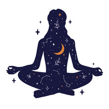Young Woman Sits In Lotus Pose Of Yoga. Universe With Crescent Moon, Constellations, Galaxy And Stars Inside The Girl. Free Mind Concept. Vector Illustration Of Meditation, Self Care Or Mindfulness.