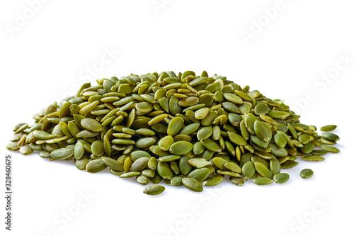 Fototapeta Heap of peeled pumpkin seeds isolated on white obraz