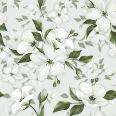 Panel Szklany 3D Apple blossom. Spring seamless pattern of white flowers.