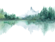 Watercolor Landscape Of Nature...