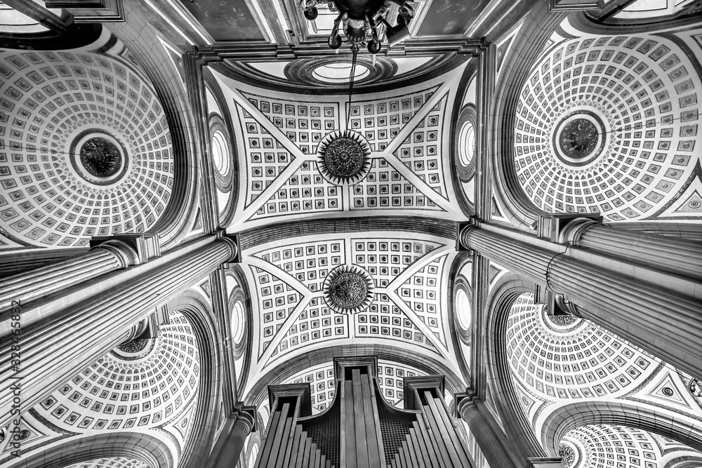 Fototapeta Black and White Basilica Ornate Ceiling Puebla Cathedral Mexico