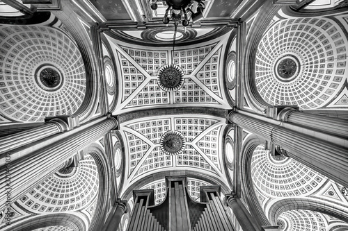 Black and White Basilica Ornate Ceiling Puebla Cathedral Mexico