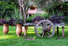 Old Wooden Wagon Decorated Wit...