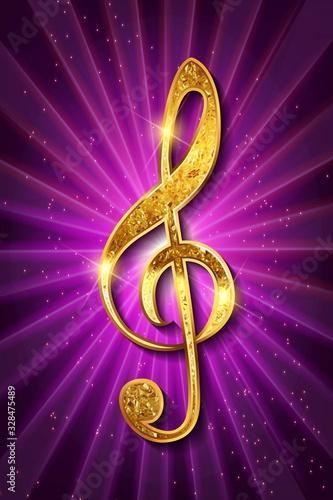 Obraz na płótnie Golden treble clef music signature