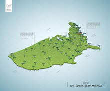Stylized Map Of United States Of America. Isometric 3D Green Map With Cities, Borders, Capital Washington, Regions. Vector Illustration. Editable Layers Clearly Labeled. English Language.