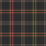 Plaid pattern seamless vector graphic. Dark tartan check plaid in brown and orange for flannel shirt, bag, throw, blanket, or other modern autumn fabric design. - 328477414