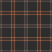 Plaid Pattern Seamless Vector Graphic. Dark Tartan Check Plaid In Brown And Orange For Flannel Shirt, Bag, Throw, Blanket, Or Other Modern Autumn Fabric Design.