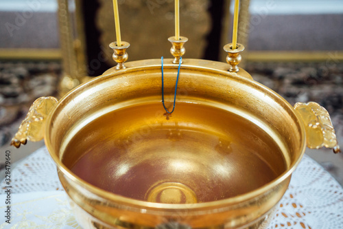 Fotografie, Tablou View of baptismal font in an orthodox church.