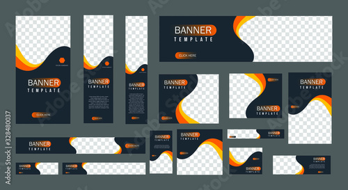 set of creative web banners of standard size with a place for photos Wallpaper Mural