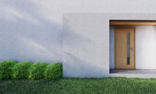In Front Of Modern House Entrance Door With Lawn And Shrub . 3D Illustration