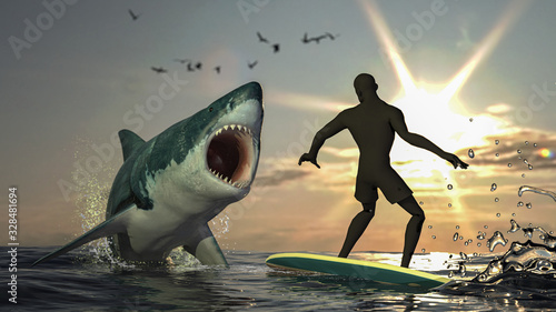 Great white shark is jumped out of air to grab the surfer on the waves 3d render Poster Mural XXL