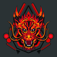 Red Dragon With Geometry, Design For Apparel, Background, Walpapaer, Etc.