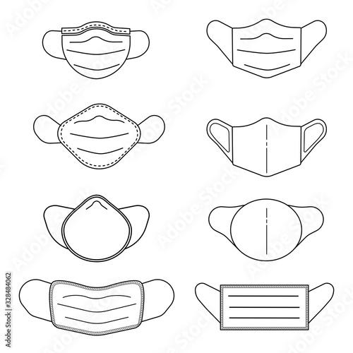 Photo Line art icon set of mask protect virus