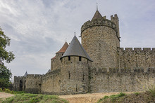 Medieval Citadel At Carcassonne - Huge And Completely Over-the-top, Encompassing No Less Than 53 Towers, Enormous Concentric Walls, Surrounded By A Moat. Aude Department, Region Of Occitanie, France.