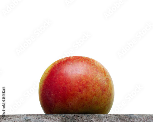 Close up of an organic apple fruit with white Background