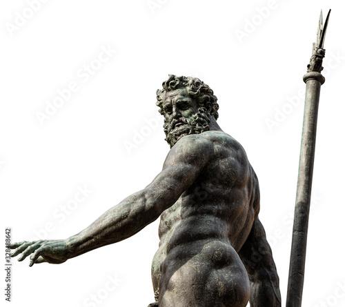 Bronze statue of Neptune isolated in white background (1566), Roman God, fountain in Piazza del Nettuno, Bologna, Emilia-Romagna, Italy, Europe Wallpaper Mural