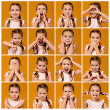 Collage Of Portraits Of Little Girl With Different Emotions On Yellow Background. Human Emotions And Facial Expression