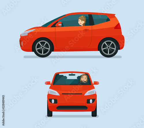 Micro car two angle set. Car with driver woman side view and front view. Vector flat style illustration. Wall mural