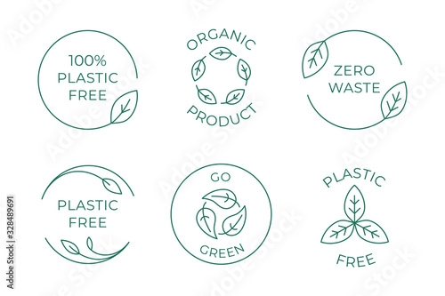 Vector icon and logo design template in simple linear style - 100 % plastic free emblem for packaging eco-friendly and organic products - fototapety na wymiar