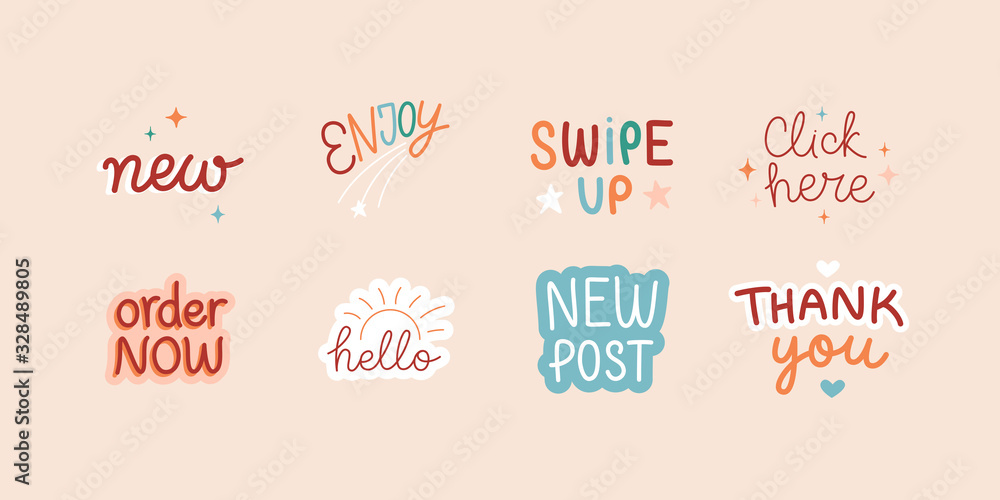 Fototapeta Vector set of design elements and sticker with hand-lettering phrases for social media posts and stories - swipe up, hello, new post, order now and click here