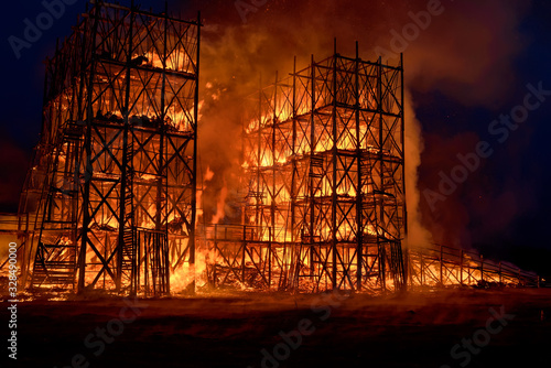 Building in inferno of flames Canvas Print