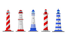 High Lighthouses Isolated On W...