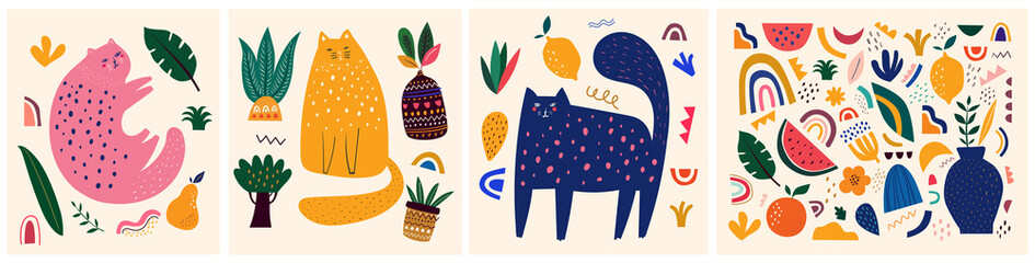 Cute spring pattern collection with cat. Decorative abstract horizontal banne...